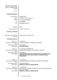 Curriculum Vitae Europeo - Provincia di Piacenza