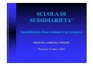 Sussidiarietà, bene comune e governance. - Provincia di Piacenza