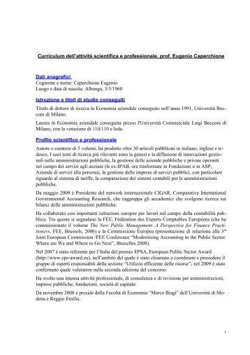 curriculum per revisori - Provincia di Piacenza