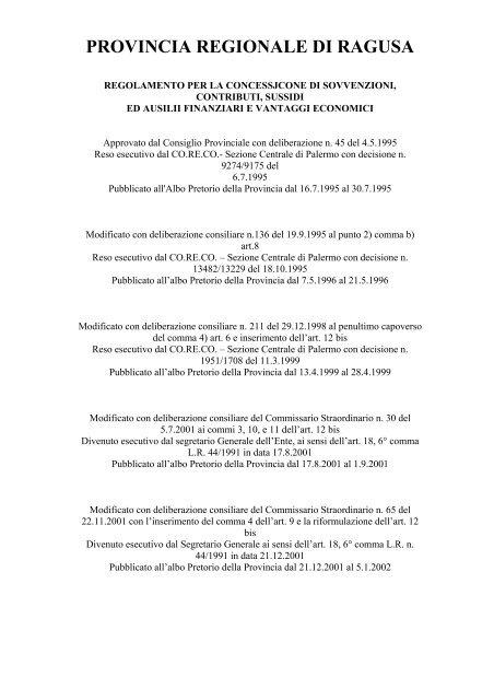 Regolamento concessione di sovvenzioni, contributi e sussidi