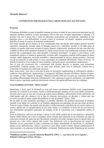 l'intervento psicologico nell'abuso sessuale all'infanzia - Provincia ...