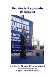Relazione 2º semestre 2008 - Provincia di Ragusa
