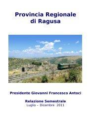 Relazione 2º semestre 2011 - Provincia Regionale di Ragusa