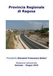 Relazione 1º semestre 2010 - Provincia Regionale di Ragusa