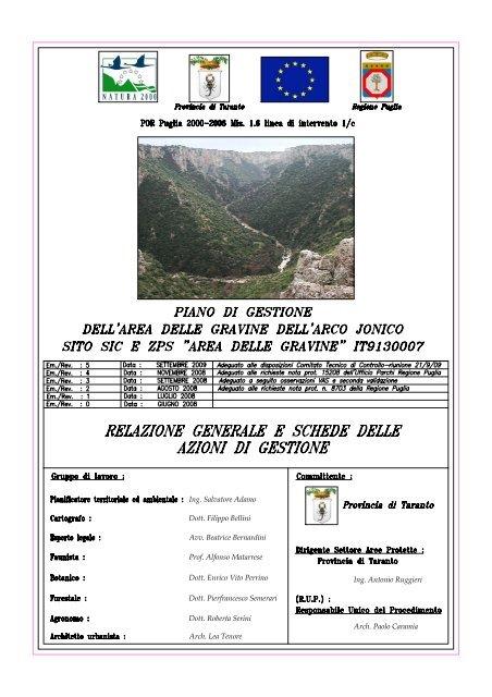 Relazione Generale Provincia Di Taranto