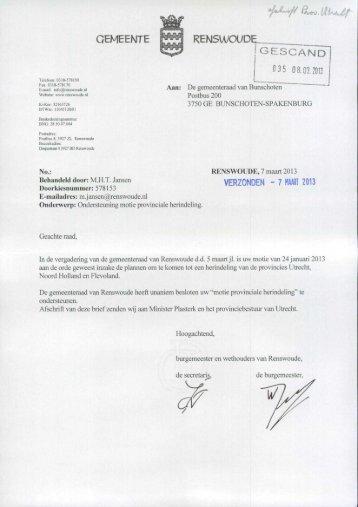 Ondersteuning motie Renswoude provinciale ... - Provincie Utrecht