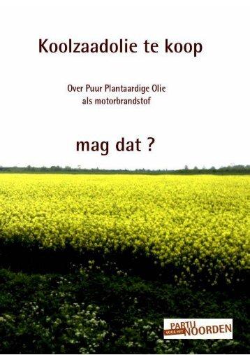 Folder Puur Plantaardige Olie - Partij voor het Noorden - Provincie ...