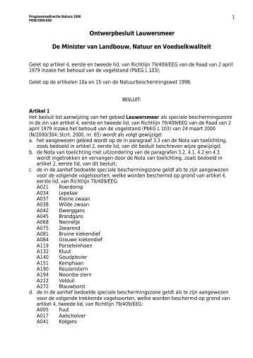 Ontwerp-aanwijzingsbesluit Natura 2000 voor het Lauwersmeer