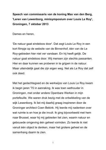 Toespraak minisymposium Leren van Lewenborg over Louis Le Roy