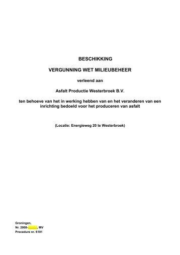 beschikking vergunning wet milieubeheer - Provincie Groningen