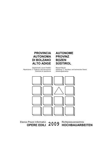 Elenco Prezzi Informativi opere edili - 2009 - Rete Civica dell'Alto ...