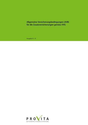Allgemeine Versicherungsbedingungen (AVB) - Provita ...