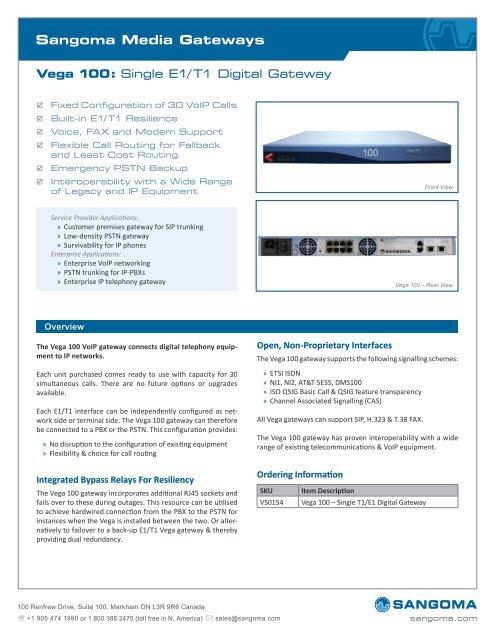 Sangoma Vega 100 Datasheet - VoIP Supply