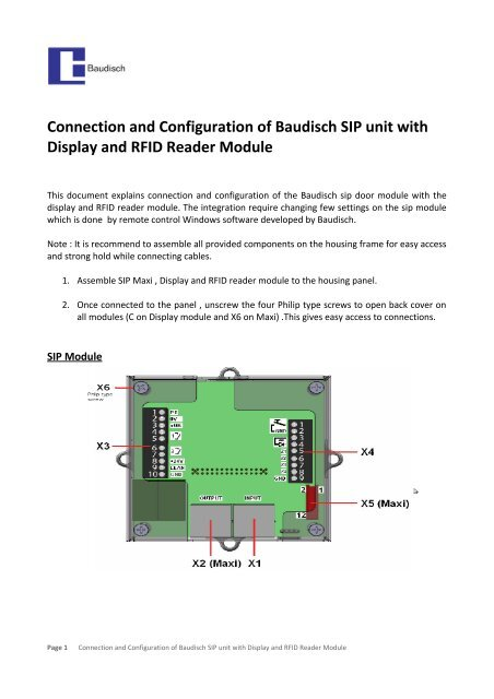 Connection and Configuration of Baudisch SIP unit with