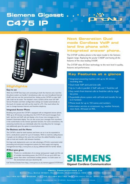 Gigaset C475 IP DECT Phone and Base Station Data Sheet - PDF