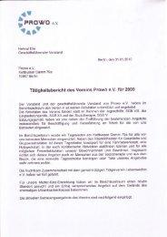 Tätigkeitsbericht 2009 - PROWO eV
