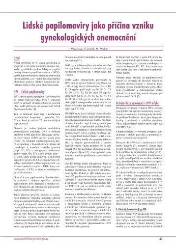 Lidské papilomaviry jako příčina vzniku gynekologických onemocnění