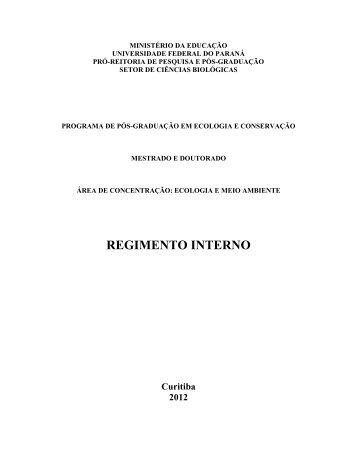 Regimento Interno 2012 - PRPPG - Universidade Federal do Paraná