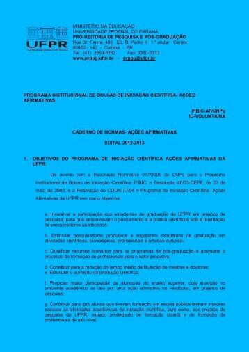 Caderno de Normas de Iniciação Científica - Ações Afirmativas ...