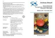 Andreas Aktuell Gemeindebrief der ... - Andreasgemeinde Darmstadt