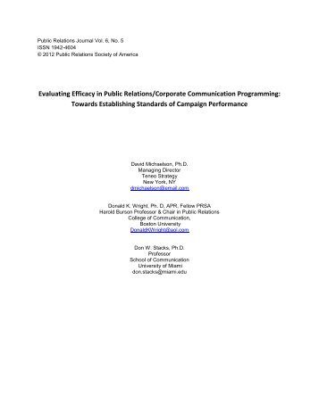 Evaluating Efficacy in Public Relations/Corporate Communication ...