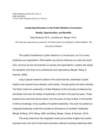 Leadership Education in the Public Relations Curriculum: Reality ...