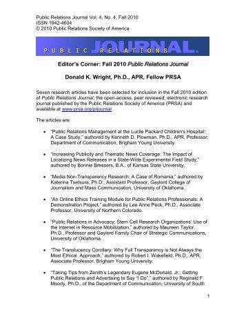 Editor's Corner: Fall 2010 Public Relations Journal