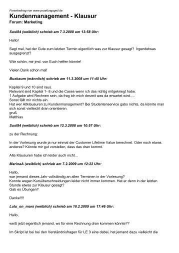 Kundenmanagement - Klausur - Studentenportal pruefungsgeil.de
