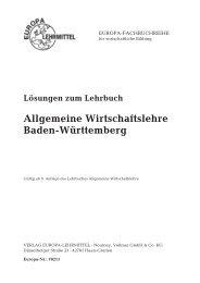 Allgemeine Wirtschaftslehre Baden-Württemberg - Europa-Lehrmittel