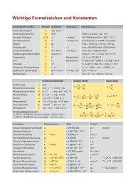 Wichtige Formelzeichen und Konstanten - Prüfung