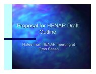 Proposal for HENAP Draft Outline