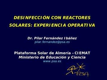 desinfección con reactores solares - Plataforma Solar de Almería
