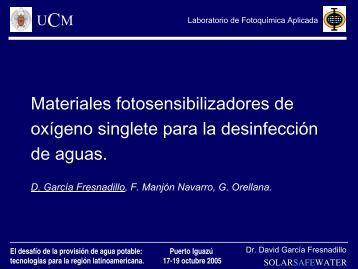 CI-11: Materiales fotosensibilizadores de oxígeno singlete para la ...