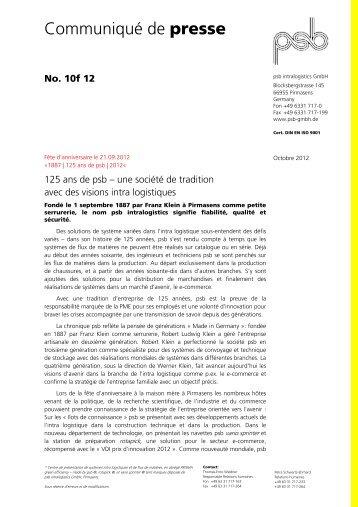 En savoir plus - psb GmbH