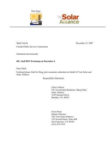 The Solar Alliance and The Vote Solar Initiative - Public Service ...