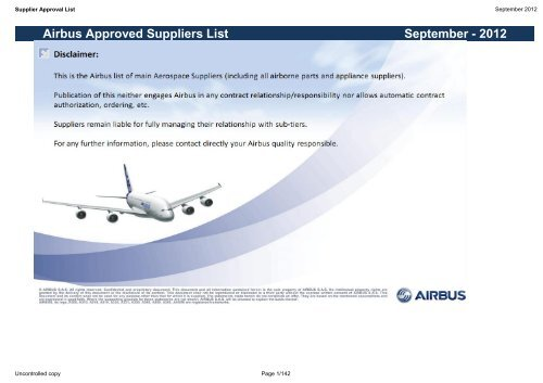September 2012 Airbus Approved Suppliers List