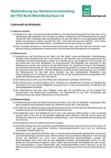 Wahlordnung zur Vertreterversammlung der PSD Bank ...