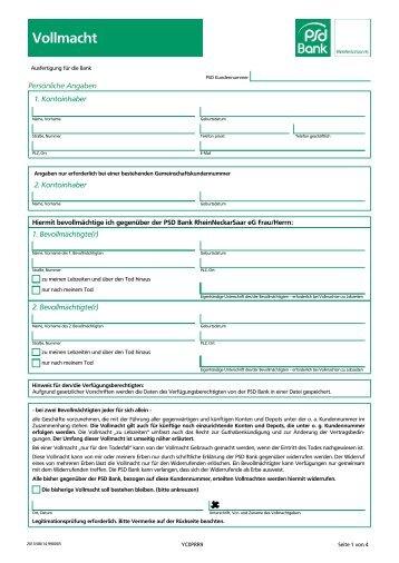 Vollmacht Gesamte Kontoverbindung Eurocity Bank Ag