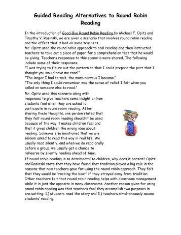 Alternatives to Round Robin Reading - Jefferson County Schools, TN