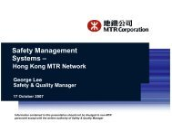 Safety Management Systems - Hong Kong MTR Network