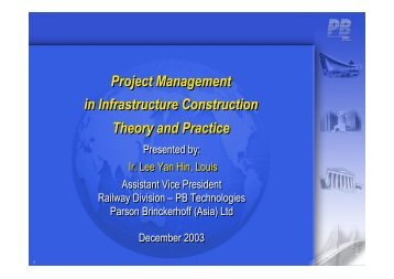 Project Management in Infrastructure Construction Theory and ...