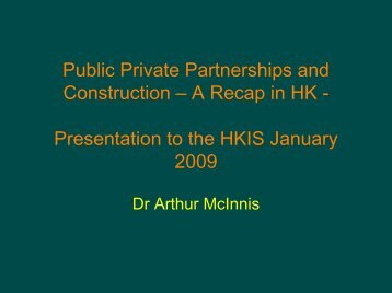 PPPs and Construction: A Recap in Hong Kong