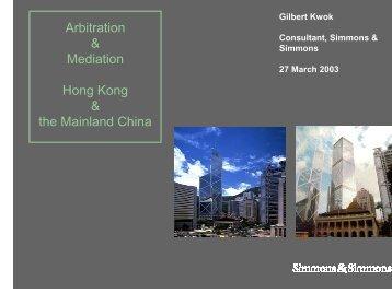 B. Arbitration in Hong Kong (Cont'd)
