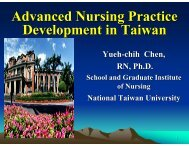 Advanced Nursing Practice Development in Taiwan
