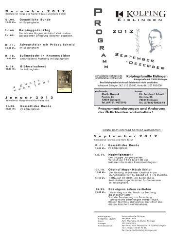 Programm der Kolpingsfamilie 2. Halbjahr 2012