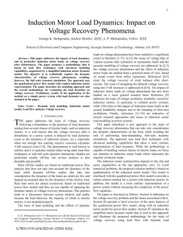 Induction Motor Load Dynamics: Impact on Voltage Recovery ...