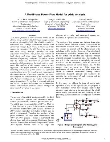A MultiPhase Power Flow Model for µGrid Analysis - Power Systems ...