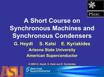 A Short Course on Synchronous Machines and Synchronous ...