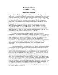 Curriculum Vitae Dr. James L. Terry - Plasma Science and Fusion ...