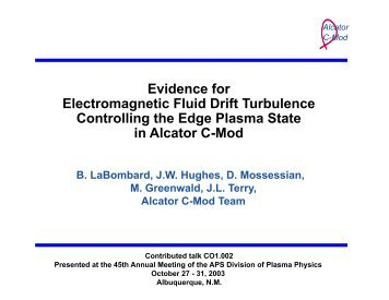 Evidence for Electromagnetic Fluid Drift Turbulence Controlling the ...